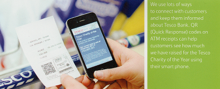 Tesco internal publicity showing use of QR code on ATM reciept.