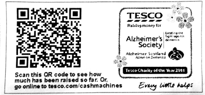 QR code on ATM reciept.
